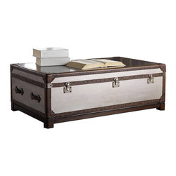 "Hooker Furniture - Melange Bondurant Cocktail Trunk - With its faux zinc finish with leather and nail head trim, the Bondurant Cocktail Table combines the best of rustic and city style.  Two pull out drawers, one on each side.  Drawers: 28"" w x 20 1/8"" d x 8 1/2"" h"