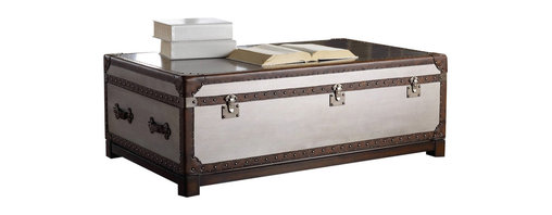 """Hooker Furniture - Melange Bondurant Cocktail Trunk - With its faux zinc finish with leather and nail head trim, the Bondurant Cocktail Table combines the best of rustic and city style.  Two pull out drawers, one on each side.  Drawers: 28"""" w x 20 1/8"""" d x 8 1/2"""" h"""