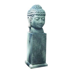 "Campana - Temple Buddha Head - Temple Buddha Head 16"" Length 18"" Width 27"" Height 315Lb Pedastal in photo is available by special order. Please contact customer service 1-866-342-3330. Buddha, material composition is cast stone. Constructed for all climates & temperatures. Buddha Head should not be in contact with frozen ground."
