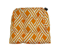Fresco Orange Dining Chairpad (Indoor/Outdoor) - 100% polyester cover and fill.  Suitable for use indoors or out.  Made in USA.  Spot Clean only
