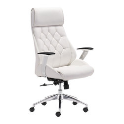 Zuo Modern Contemporary, Inc. - Boutique Office Chair White - Be the leader of your desk with the Boutique Office Chair. Features leatherette wrapped seat and tufted back cushion with chrome frame. Adjustable height and tilt.