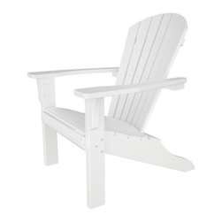 POLYWOOD® Seashell Recycled Plastic Adirondack Chair - Strong and durable the Polywood Seashell Recycled Plastic Adirondack Chair is also comfortable and easy to maintain with only soap and water. Available in your choice of color these beautiful chairs are made to look like wood but are crafted from recycled plastic that won't fade rot warp crack splinter or support bacterial growth. Additional Features Made in the USA Won't warp crack splinter or support bacterial growth UV stabilized colors keep up the color About Poly-WoodThe advantages of Poly-Wood Recycled Plastic are hard to ignore. Poly-Wood absorbs no moisture and will NOT rot warp crack splinter or support bacterial growth. Poly-Wood is also compounded with permanent UV-stabilized colors which eliminates the need for painting staining waterproofing stripping and resurfacing. This material is impervious to many substances including salt water gasoline paint stains and mineral spirits. In addition every Poly-Wood product comes with stainless steel hardware. Poly-Wood is extremely easy to clean and maintain. Simple soap and water is all you need to get rid of dirt and make your furniture look new again. For extreme cleaning needs you can use a 1/3 bleach and water solution. Most Poly-Wood furnishings are available in a variety of classic colors which allow you to choose your favorite or coordinate with the furniture you already have. This is sure to be a piece that you will be proud to own for a lifetime.