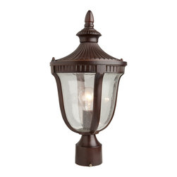 Artcraft Lighting - Artcraft Lighting Palermo Traditional Outdoor Post Lantern Light X-AM3208CA - A single head post  from Palermo exterior lighting collection features a beautiful seeded glassware. Featuring a mahogony finish on an aluminum frame. (Also available in graphite)