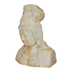 Orlandi - Kwan Yin Bust Garden Statuary Yard Art Statue, Pompeii - Hand crafted from fiber stone is lightweight and more durable than concrete.