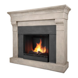 Torrence Cast Cinder Stone Gel Fuel Firebox & Mantel - The Torrence Mantel features an elegant, classic design and authentic stone texture, creating a beautiful built-in look to compliment any room. Real Flames Cast Mantels are crafted from a light weight, fiber-enforced concrete and backed with an internal steel frame for an enduring presence. For safety, this unit must be anchored to a wall using the included hardware. The hand-painted log set and bright crackling flame add to the realistic look of this Real Flame Gel Fuel Fireplace. Uses 3 - 13oz. cans of Real Flame Gel Fuel.
