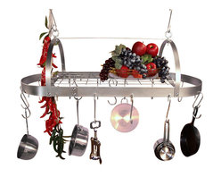 "HSM - 30 Inch Oval Hanging Stainless Steel Pot Rack With Grid - Dimensions: 30""W x 12-1/4""D x 9-1/2""H"