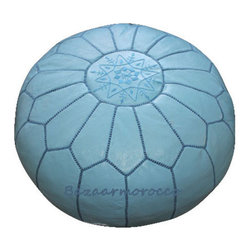 MOROCCAN LEATHER POUF SKY BLUE - Soothing and sophisticated, the Sky Blue Moroccan Leather Pouf is a fun way to spruce up a room with a touch of shine and sparkle. Hand-stitched Moroccan leather poufs make a great ottoman/foot stool. Little ones enjoy them as a seat that's just their size. Enjoy the versatility and color of this classic decor accessory in your home.