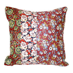 Acapillow - Floral Patchwork Pillow - Mixing colorful fabrics with boho flair, this eclectic pillow will single-handedly spice up your neutral couch or chair. The assorted florals come from charming vintage sources like 1940s feed sack calico and antique French fabrics.