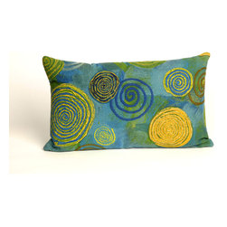 """Trans-Ocean - Graffiti Swirl Blue Pillow - 12""""X20"""" - The highly detailed painterly effect is achieved by Liora Mannes patented Lamontage process which combines hand crafted art with cutting edge technology.These pillows are made with 100% polyester microfiber for an extra soft hand, and a 100% Polyester Insert.Liora Manne's pillows are suitable for Indoors or Outdoors, are antimicrobial, have a removable cover with a zipper closure for easy-care, and are handwashable."""