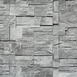 Walls Republic - Faux Stone Wallpaper, Grey, Double Roll - Faux Stone is the perfect narrative to stone tiling that would bring the modern look of the stone to your living room.