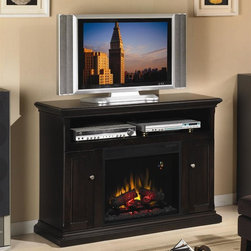 ClassicFlame - Cannes Home Theater Electric Fireplace in Esp - Finish: Premium CherryTraditional fluted edge. Open center shelf for electronic media components. Integrated wire management. Frame and panel style doors. Sturdy box base with scotia molding detail. Three-way adjustable concealed euro hinges. Adjustable shelves have wood veneer finish on fives sides. Can be used with or without heat for all season enjoyment. Large viewable area. Patented LED on screen function indicator. Automatic on screen indicators. Energy saving all LED technology. Upgraded realistic resin logs and ember bed. Digital thermostat with numerical readout. Five flame brightness settings. On screen indicator works from remote or manual controls. Electronic timer function with automatic shut off from 30 minutes up to 9 hours. 1400 watt/4600 BTUs/hr heater blower can warm a 400 square foot room. Minimal assembly required. Center shelf: 41 in. W x 14.25 in. D x 6.5 in. H. Left and right side cabinet interior: 8 in. W x 14.25 in. D x 19 in. H. Insert: 23.6 in. W x 9.3 in. D x 20 in. H (27.5 lbs.). Mantel: 47.3 in. W x 16.5 in. D x 34 in. H (90.2 lbs.)