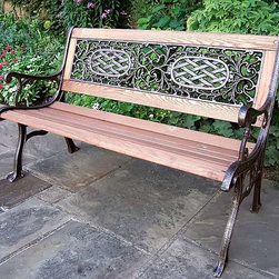 Oakland Living - Cast Iron and Oak Wood Bench w Arms & Scrollw - Long lasting finish maintains appearance for years to come . Electrostatic application of the powder coat ensures a smooth, even finish. High grade baked on polyester powder coated finish. Brass and stainless steel assembly hardware. Quick and easy to read care and assembly instructions included. Double QC Quality program in which each piece is assembled prior to being unassembled and packaged assures that all parts are present and that the product will assemble easily. Made of cast iron and treated oak wood. Antique Bronze finish. 50 in. L x 25 in. W x 31 in. H (76 lbs.)