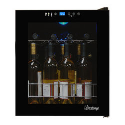 Vinotemp - Vinotemp - 15-Bottle Touch Screen Wine Cooler - Maintain your small wine collection in this 15-Bottle Touch Screen Wine Cooler. The VT-15 TS features a handsome design with black body and tinted glass door with magnetic seal and recessed handle. A touch screen control panel and digital temperature display allows wines to be set at different settings.