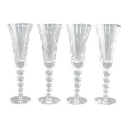 Godinger Silver - Bubble Flutes Set Of 4 - Whether you're serving wine or water, your guests will appreciate the simplicity and class of these crystal flutes. Made by the one and only Godinger Silver Art which has been providing for you fine crystal ware and silver plated pieces for decades! Its classy yet touch of elegance makes it a true asset to behold and display. Dimensions: 3 x 3 x 8 inches.