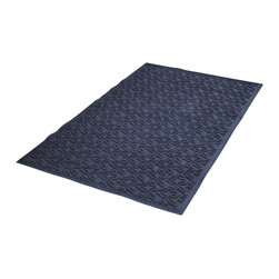 Bungalow Flooring - 36 in. L x 60 in. W Navy Waterguard Dogwood Leaf Mat - Made to order. Leaf design traps dirt, resists fading, rot and mildew. Indoor and outdoor use. 36 in. L x 60 in. W x 0.5 in. H