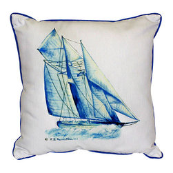Betsy Drake - Betsy Drake Blue Sailboat Pillow- Indoor/Outdoor - Blue Sailboat Pillow- Large indoor/outdoor pillow. These versatile pillows are equal at enhancing your homes seaside decor and adding coastal charm to an outdoor setting arrangment. They feature printed outdoor, fade resistant fabric for years of wear and enjoyment. Solid back, polyfill. Proudly made in the USA.