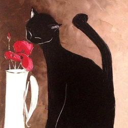 overstockArt.com - De Jiel - Black Cat With Poppies - Black cat with poppies is a beautiful painting of a cat, a motif Atelier De Jiel often uses in his paintings. Enjoy the beauty and color of this painting reproduced as a fine canvas print. Atelier De Jiel is a professional painter from French region Paca. He may be given the title of a conventional painter and often compared to close to the art of children, but this is mistaken. It's his child like approach and soul which he draws his energy, an essential source of his creative energy and universe. His paintings are never a perfect reproduction of reality and his focus is especially on playing with colors and contrast. Atelier's art can be found part of many private collections in France and throughout the world and he also exhibits in France and abroad.