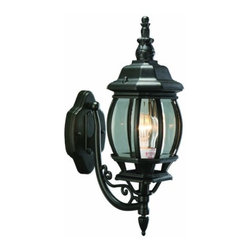 DHI-Corp - Canterbury Outdoor Uplight, 6.38-Inch by 20.5-Inch, Black Die-Cast Aluminum - The Design House 505537 Canterbury Outdoor Uplight greets your guests at the door with a soft, inviting glow. Finished in black die-cast aluminum with clear beveled glass, this outdoor sconce will decorate your facade with a regal elegance. The soft details make this fixture look like it came from an antique shop without the upkeep or high costs. The classic American design will easily accommodate most home architectures. Measuring 6.38-inches by 20.5-inches, this lamp matches brick, stone, wood paneling or aluminum siding. This wall mount features a 100-watt medium base incandescent lamp and is rated for 120-volts. UL listed and UL approved for wet areas, this uplight will not break or rust in harsh weather conditions. The Design House 505537 Canterbury Outdoor Uplight comes with a 10-year limited warranty that protects against defects in materials and workmanship. Design House offers products in multiple home decor categories including lighting, ceiling fans, hardware and plumbing products. With years of hands-on experience, Design House understands every aspect of the home decor industry, and devotes itself to providing quality products across the home decor spectrum. Providing value to their customers, Design House uses industry leading merchandising solutions and innovative programs. Design House is committed to providing high quality products for your home improvement projects.
