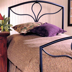 Hillsdale Furniture - Morgan Modern Metal Headboard in Textured Bla - Choose Size: QueenFor residential use. Includes headboard and frame. Fully welded construction. 1.25 in. round outer frame and 0.75 in. round inner arches. Geometric design. Twin/Full/Queen headboard: 46 in. H. Frame: 76.5 in. L x 54 in. WA striking geometric design combining a series of complementing curves giving this bed a contemporary design theme. Textured powder coat finish in a gritty Black.