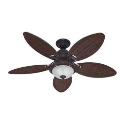 Hunter - Hunter Caribbean Breeze Ceiling Fan in Weathered Bronze - Hunter Caribbean Breeze Model HU-54095 in Weathered Bronze with Antique Wicker Finished Blades. Wicker Bowl Light Fixture to match your blades on your Caribbean Breeze Ceiling Fan.