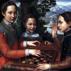 "Sofonisba Anguissola Portrait of the Artist's Sisters Playing Chess - 18"" x 24"" - 18"" x 24"" Sofonisba Anguissola Portrait of the Artist's Sisters Playing Chess premium archival print reproduced to meet museum quality standards. Our museum quality archival prints are produced using high-precision print technology for a more accurate reproduction printed on high quality, heavyweight matte presentation paper with fade-resistant, archival inks. Our progressive business model allows us to offer works of art to you at the best wholesale pricing, significantly less than art gallery prices, affordable to all. This line of artwork is produced with extra white border space (if you choose to have it framed, for your framer to work with to frame properly or utilize a larger mat and/or frame).  We present a comprehensive collection of exceptional art reproductions bySofonisba Anguissola."