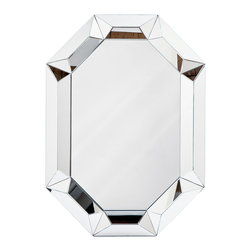 Kathy Kuo Home - Crawford Hollywood Regency Framed Prism Mirror - This unusual, prism-framed mirror might have you believing it is the fairest of them all. You'll decide when you see the sharp, geometric design of this wonderful large mirror. Hang it vertically or horizontally to make the biggest statement you can.