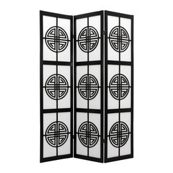 "Oriental Unlimited - Long Life Shoji Privacy Screen (3 Panels / Black) - Finish: 3 Panels / BlackBring good fortune into your space with our ""long life"" shoji screen. It features the symbol for Shou, which translates to longevity and is part of ancient Oriental folklore. The black frame and repeating insets on rice paper will be an artful addition anywhere. Screens may vary slightly in color. One of our exclusive designs. This room divider attracts good health to the household with its beautiful Shou (longevity symbol lattice. Display as an art screen. Display to define space. Shade is strong. Fiber reinforced pressed pulp rice paper allows diffused light. Provides complete privacy. Crafted from durable and lightweight Scandinavian Spruce. Panels are constructed using Asian style mortise and tenon joinery. Lacquered brass. 2-way hinges mean you can bend the panels in either direction. Black finish. Assembly required. Each panel: 17.5 in. W x .75 in. D x 72 in. H. 3 Panels: 53 in. wide (flat). Approximately 45 in. wide (folded to stand upright)"