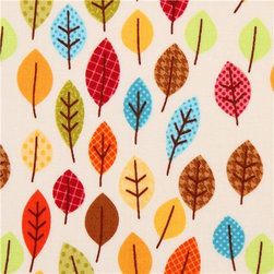 cream Harvest Leaves autumn leaf fabric Riley Blake Happy Harvest - flower fabric by Doodlebug Designs with pretty colorful autumn leaves
