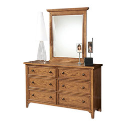 """Lea Industries - Lea Americana 6-Drawer Dresser with Landscape Mirror in Khaki Oak - Khaki oak finish accented with light distressing and burnished edges with subtle highlights add interest with the natural character of the wood. Developing a youth group that has a broad appeal for both boys and girls; young and old was the inspiration behind Americana. A cleaner, American casual group with lot's of appeal to fit any lifestyle. �Standard"""" chest of drawers and night stand, and Saw Horse desk takes up less wall space than a pedestal desk and is more laptop friendly and easy to move. Something new being offered is the Loft beds with cases that nest under the unit. An eclectic mix of materials and finishes gives this group a unique, but comfortable flavor and design."""