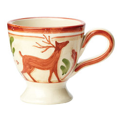 Frontgate - Vietri Set of Four Renna Mugs - Handmade of terra cotta. Hand-painted in Umbria. Dishwasher safe. Will make a lovely addition to Christmas dinnerware collections. The Renna Dinnerware is a festive collection for fall and the holidays. In Italian lore, the reindeer, or renna, is a thing of majesty and beauty. Renna's rich, warm colors of green, red and cream evoke nature, and the animal's graceful silhouette exudes elegance.  .  .  .  . Made in Italy.