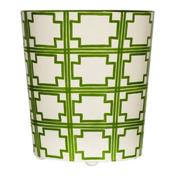 Worlds Away Oval Wastebasket, Green and Cream Square Design - Oval Wastebasket, green and cream