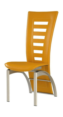 Global Furniture - Dining Chair in Yellow PVC - This modern dining chair is finished in a yellow leatherette. The silver finish legs and trim compliment the cut out designs of the chair back. Will compliment almost any contemporary dining set.