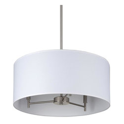 Lights Up - Walker 3 Arm Drum Chandelier in Brushed Nickel Finish (Croissant Silk Glow) - Fabric: Croissant Silk Glow. Bulbs not included. Requires three 40 watt bulbs. UL listed. Wired for permanent mounting. Voltage: 120 Volts. Brushed nickel finish. 16 in. Dia. x 36 in. H