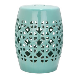 Safavieh - Robbins Egg Blue Circle Lattice Garden Stool ACS4508C - It's simple geometry: this transitional garden stool has a circle and square lattice motif that brings a chic new look to an ages-old Chinese classic. Use this striking accent piece as an extra seat, plant stand or side table indoors or out: its glazed robin's egg blue ceramic stands up to the elements.