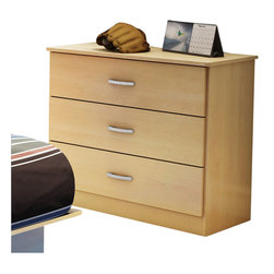 South Shore - South Shore Libra Kids 3 Drawer Chest in Natural Maple - South Shore - Chests - 3113033C - The practical Libra three drawer chest in natural maple finish coordinates with virtually any decor, thanks to its contemporary styling and sleek and simple lines. Fully functional and adaptable, it will meet all your needs - from clothes storage in its three spacious drawers, to serving as a stand for your decorative items, or even as a solid base for your TV. While the pewter finish metal handles add value to the furniture, it has also been designed with safety in mind by offering rounded corners. The glides are made of polymer and include dampers and catches, creating a secure environment for little ones.