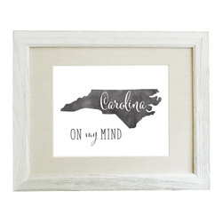 "Carolina On My Mind 8x10 Watercolor Print (Frame Not Included) - This original typographic print features ""Carolina On My Mind"" with a silhouette of North Carolina in black/grey watercolor. 8x10 unframed giclee print on high quality 100lb felt cover stock. (similar to watercolor paper) Ships flat in protective packaging."