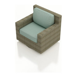 Forever Patio - Hampton Modern Outdoor Swivel Glider Chair, Heather Wicker and Spa Cushions - The stylish and functional Forever Patio Hampton Rattan Patio Swivel Glider with Turquoise Sunbrella cushions (SKU FP-HAM-SG-HT-SP) always lets you turn to where the action is. The UV-protected, heather wicker sports a flat woven design, creating a contemporary look with clean lines. Each strand of this outdoor wicker is made from High-Density Polyethylene (HDPE) and is infused with its rich color and UV-inhibitors that prevent cracking, chipping and fading ordinarily caused by sunlight. This outdoor wicker swivel chair is supported by thick-gauged, powder-coated aluminum frames that make it more durable than natural rattan. This chair includes fade- and mildew-resistant Sunbrella cushions for added comfort in your outdoor space.