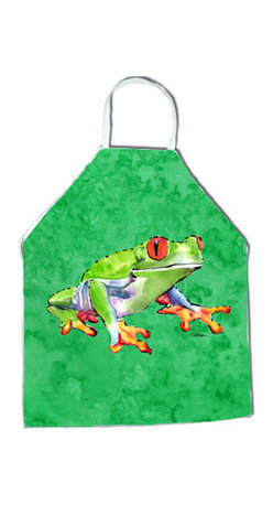 Caroline's Treasures - Frog Apron 8688APRON - Apron, Bib Style, 27 in H x 31 in W; 100 percent  Ultra Spun Poly, White, braided nylon tie straps, sewn cloth neckband. These bib style aprons are not just for cooking - they are also great for cleaning, gardening, art projects, and other activities, too!