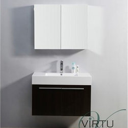 "Virtu USA - Virtu USA 36"" Midori Single Sink Bathroom Vanity with Polymarble Countertop - We - This ultra-attractive vanity is designed to be an asset in any bathroom. This vanity features many plenty of storage in the form of two soft closing doors on Blum hinges and an easy clean basin for a pleasant and convenient bathroom experience in both the practical sense, as well as aesthetics. This vanity was designed with a smaller bathroom in mind, while still maintaining a sense of elegance. Virtu USA has taken the initiative by changing the vanity industry and adding soft closing doors and drawers to their entire product line. By doing so, it will give their customers benefits ranging from safety, health, and the vanity's reliability.FeaturesMain cabinet: 35.2"" W x 18.5"" D x 23.4"" HMirror/Medicine cabinet: 35.4"" W x 6"" D x 25.6"" HMaintenance-free high gloss polymarble countertop with integrated basinWenge finishWater resistant low V.O.C sealerPlywood and Composite with MelamineAdjustable hingesMain cabinet: 2 Doors with BLUM' soft closing hingesMirror/Medicine cabinet: 2 Doors with BLUM' soft closing hingesSatin Nickel HardwarePre-drilled single hole faucet mountMinimal assembly requiredPS-103 Faucet with Pop Up and Drain Assemblies Included CUPC, UPC and IAPMO Certified Faucet with Limited Lifetime Warranty Lead-Free Faucet Compliant with AB1953 and S152 Eco-Friendly WaterSense Certified 1.5 GPM flow rateHow to handle your counterView Spec Sheet"