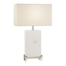 Fine Art Lamps - White Marble Nickel Base Table Lamp, 826410ST - Nothing has the style impact of white marble. Here, a rectangle slab with subtle gray veins rests in an antiqued brass or polished nickel base — a look that will lend stately sophistication to your favorite modern setting.