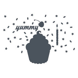 """Wall Candy - Cupcake Chalkboard - What could possibly bring more joy than a buttery cupcake? A colossal cupcake chalkboard that can remind you to pick up dessert for your dinner party! Pour on the oversized sprinkles for a dash of decorative delight in your bakery or coffee shop. It makes a great place to display lunch specials. Or you can add this delectable cupcake wall decal to your office and never forget how sweet a busy schedule can be.  What's Included:  1 cupcake 32""""x24"""" cherry 10.5"""", 24 sprinkles, 22 stars, candle 18"""" 'yummy' text"""
