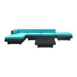 Modway Furniture - Modway Laguna 6 Piece Sectional Set in Espresso Turquoise - 6 Piece Sectional Set in Espresso Turquoise belongs to Laguna Collection by Modway Plumb the surface depths with the sweetly expressive Laguna corner set. Encompass moments of inspiration as you create ripple effects to be felt the world over. With soft all-weather turquoise fabric cushions and espresso rattan base, yield surprising results and let spontaneity flow forth as you sit in lavish comfort. Set Includes: One - Laguna Outdoor Wicker Patio Coffee Table One - Laguna Outdoor Wicker Patio Corner Section Two - Laguna Outdoor Wicker Patio Armless Sections Two - Laguna Outdoor Wicker Patio Ottomans Coffee Table (1) , Corner Section (1), Armless Section (2), Ottoman (2)