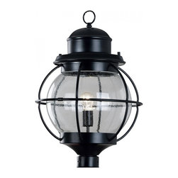Kenroy Home - Kenroy Home Hatteras 1-Light Post Lantern Black Finish - 90967BL - Harking back to sailors' lanterns, Hatteras' clear seeded glass will sparkle and brighten your home. The lanterns work equally well indoors or out. Aluminum.