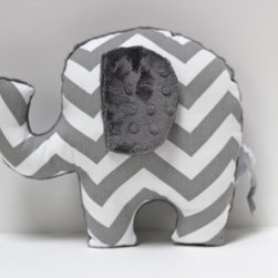 Chevron Elephant Nursery Pillow Toy By LilKingdom - An elephant chevron plush toy to add a little style to that baby's room.