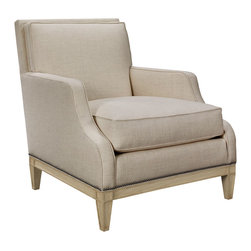 Monroe Chair in Parchment & Oatmeal - Take your ease to enjoy your home in a comfortable, supportive chair made for the room with well-curated d�cor of any theme and era.  Easy to coordinate, the Monroe Chair has ogee curved arms with double piped edges to coordinate with the welted back padding and loose box seat cushion.  Small-scale coffering enhances the solid ash banding around the chair's base and the tapered legs that support it, a final touch of detail in a traditional design.