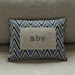 Bordered Chevron Pillow Cover - I'm not usually a fan of monogrammed things, but the chevron border and the typeface (I love typewriters) are changing my mind. This is an adorable pillow that is a little playful and a little nostalgic.
