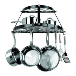 "Range Kleen-petra - Two Shelf, Wall-Mount Pot Rack in Black - 24 in. Wide - Two Shelf, Wall-Mount Pot Rack. Black FinishBrand: Range Kleen. RKNCW6002R. Stainless Steel. Includes 3 Wall Screws, 3 Wall Anchors & 8 Pot Hooks. Dim: 12""H X 24""W X 11""D. BlackProduct Class: Electronics-OtherUPC: 70775182218Manufacturer's Warranty: One Year"