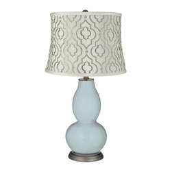 """Color Plus - Contemporary Rain Taj Sea Glass Shade Double Gourd Table Lamp - Exclusive Rain blue gray designer color. White cotton blend fabric shade with embroidered sea glass green Taj pattern. Hand-crafted lamp. From the Color + Plus lighting collection. Maximum 150 watt or equivalent bulb (not included). 29 1/2"""" high. Shade is 14"""" across the top 16"""" across the bottom 11 1/2"""" high.   Exclusive Rain blue gray designer color.  White cotton blend fabric shade with embroidered sea glass green Taj pattern.  Hand-crafted lamp.  From the Color + Plus lighting collection.  Maximum 150 watt or equivalent bulb (not included).  29 1/2"""" high.  Shade is 14"""" across the top 16"""" across the bottom 11 1/2"""" high."""