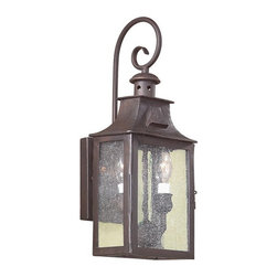 Troy Lighting - Newton Wall Lantern - Newton Wall Lantern is made from hand-forged iron and is available in a small, medium or large version. Either  (2) or (3) 60-watt, 120 volt B10 candelabra base incandescent bulbs are required, but not included. Dimensions: Small: 7W x 17.5H x 6.25D. Medium: 8.75W x 23H x 9D. Large: 11W x 26.75H x 9.75D.