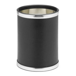 Kraftware - Sophisticates 10 in. Waste Basket in Black - Round basket. Polished chrome bands. Made in USA. 10 in. Dia. x 12 in. H (1.5 lbs.)Classic Black Leatherette Elegance. Always as appropriate as a formal tuxedo at a reception. You can't go wrong with Sophisticates.